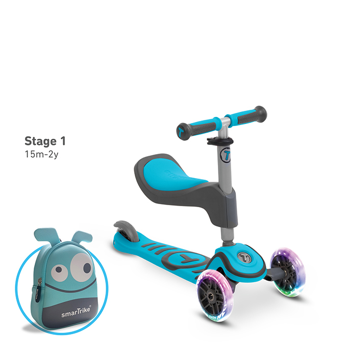 T1炫亮我行3 steps滑步車/天藍-1
